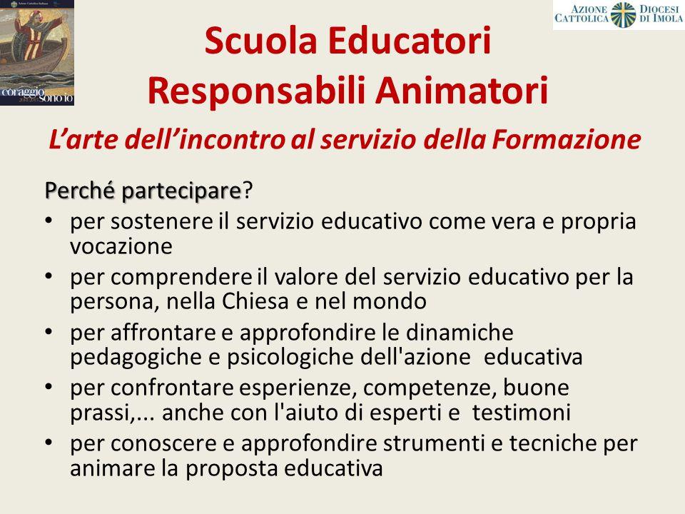 Scuola Educatori Responsabili Animatori Perchépartecipare Perché partecipare? per sostenere il servizio educativo come vera e propria vocazione per co