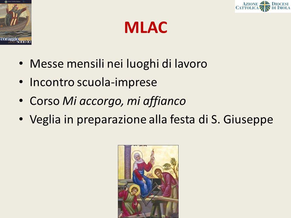 MLAC Messe mensili nei luoghi di lavoro Incontro scuola-imprese Corso Mi accorgo, mi affianco Veglia in preparazione alla festa di S. Giuseppe