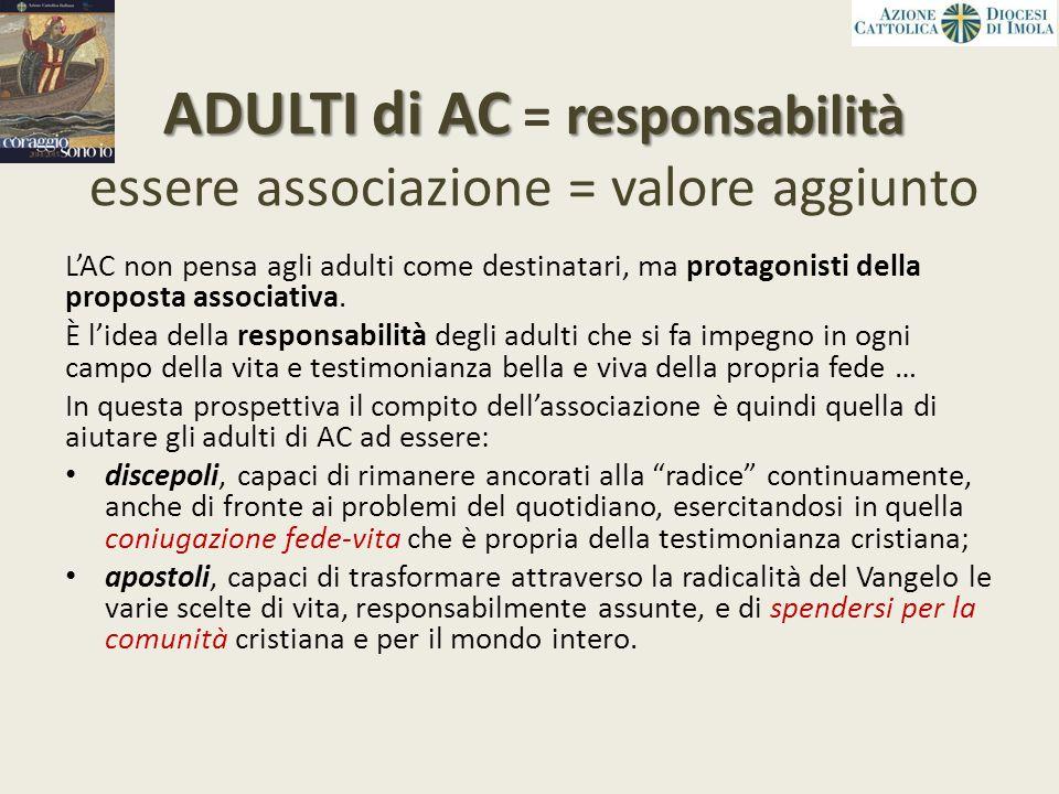 ADULTI di AC responsabilità ADULTI di AC = responsabilità essere associazione = valore aggiunto L'AC non pensa agli adulti come destinatari, ma protag