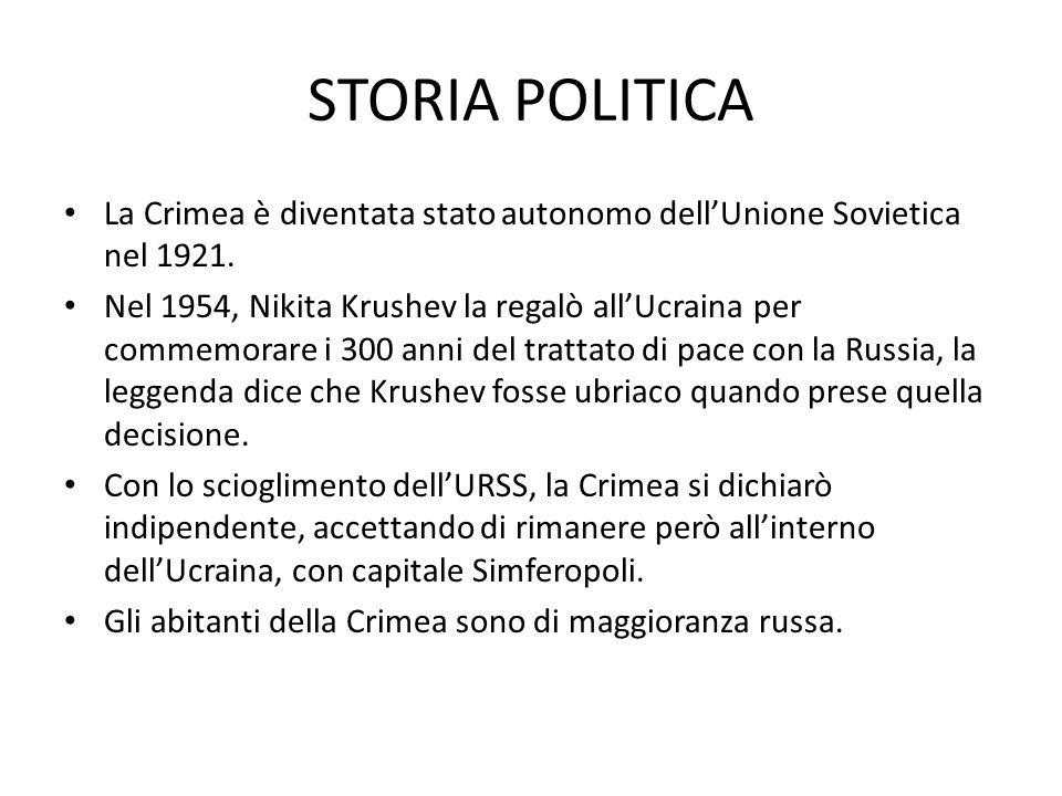 STORIA POLITICA La Crimea è diventata stato autonomo dell'Unione Sovietica nel 1921.