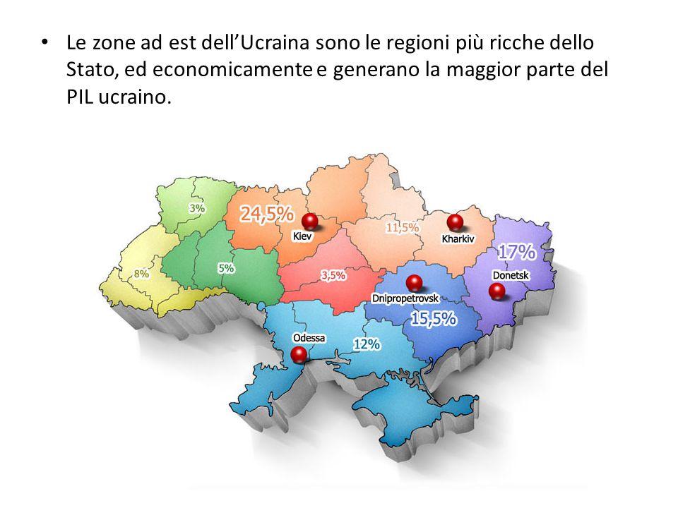 Le zone ad est dell'Ucraina sono le regioni più ricche dello Stato, ed economicamente e generano la maggior parte del PIL ucraino.