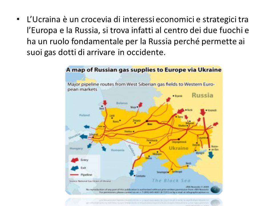 L'Ucraina è un crocevia di interessi economici e strategici tra l'Europa e la Russia, si trova infatti al centro dei due fuochi e ha un ruolo fondamentale per la Russia perché permette ai suoi gas dotti di arrivare in occidente.