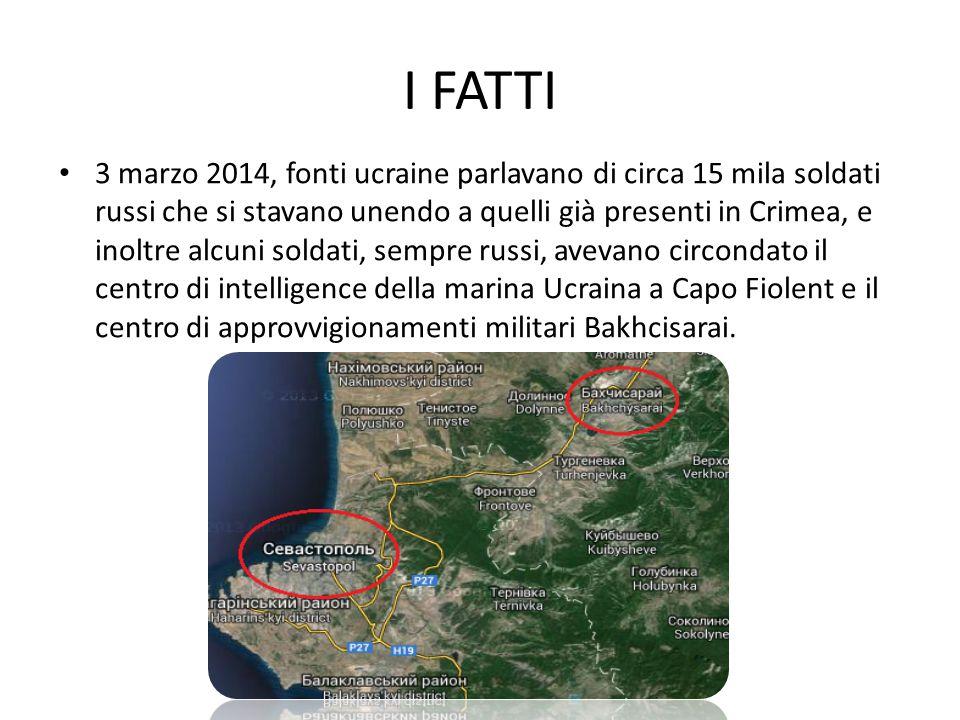 I FATTI 3 marzo 2014, fonti ucraine parlavano di circa 15 mila soldati russi che si stavano unendo a quelli già presenti in Crimea, e inoltre alcuni soldati, sempre russi, avevano circondato il centro di intelligence della marina Ucraina a Capo Fiolent e il centro di approvvigionamenti militari Bakhcisarai.