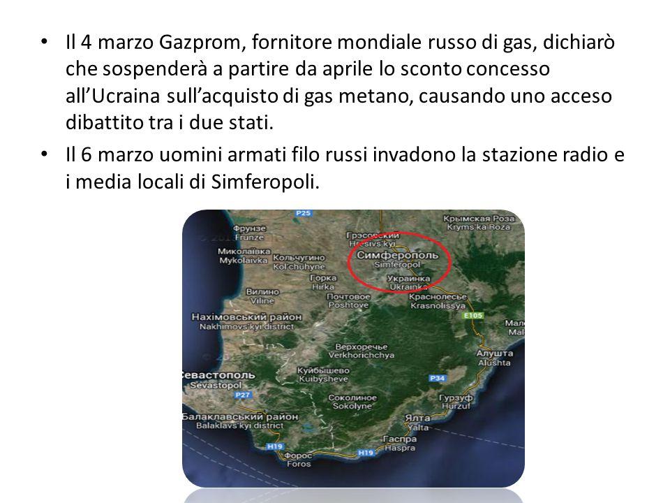 Il 4 marzo Gazprom, fornitore mondiale russo di gas, dichiarò che sospenderà a partire da aprile lo sconto concesso all'Ucraina sull'acquisto di gas metano, causando uno acceso dibattito tra i due stati.