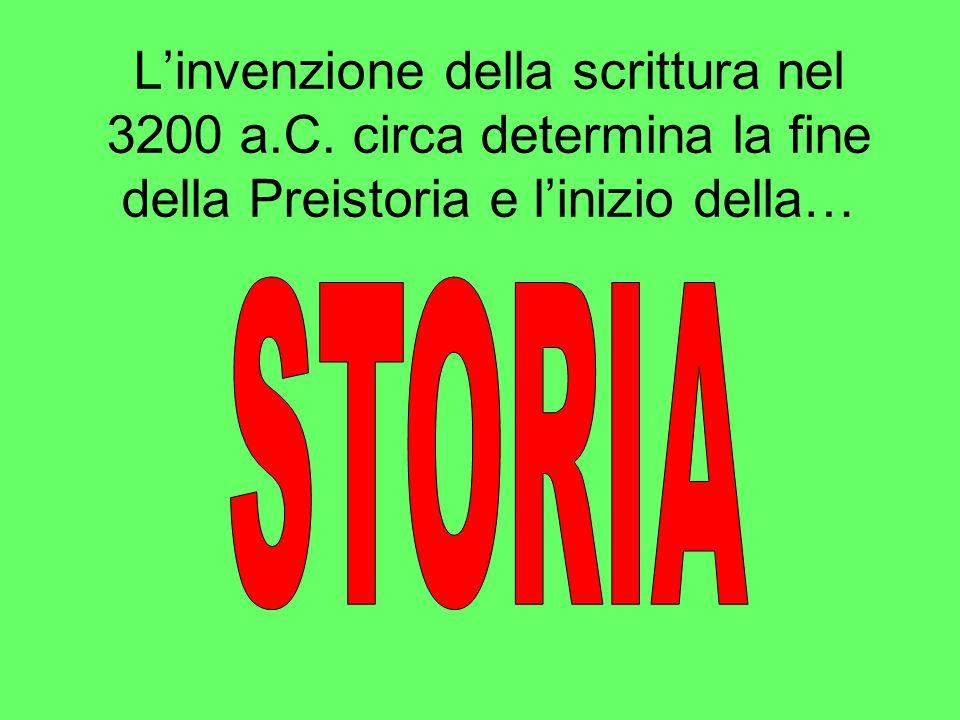 L'invenzione della scrittura nel 3200 a.C. circa determina la fine della Preistoria e l'inizio della…