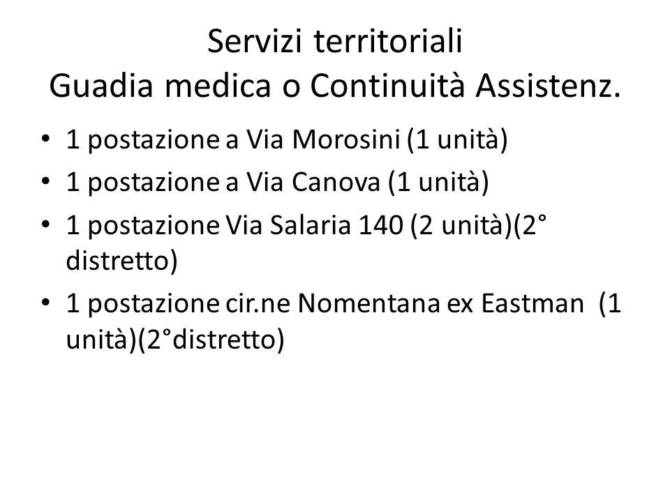 Servizi territoriali Guadia medica o Continuità Assistenz.
