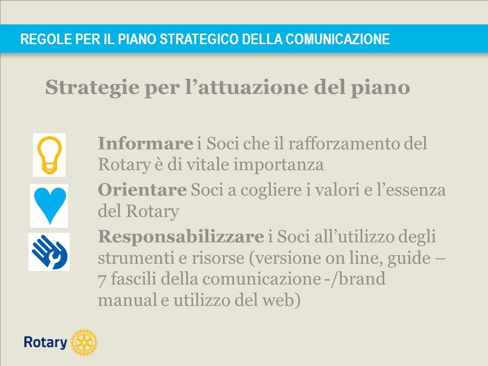REGOLE PER IL PIANO STRATEGICO DELLA COMUNICAZIONE Strategie per l'attuazione del piano Informare i Soci che il rafforzamento del Rotary è di vitale i