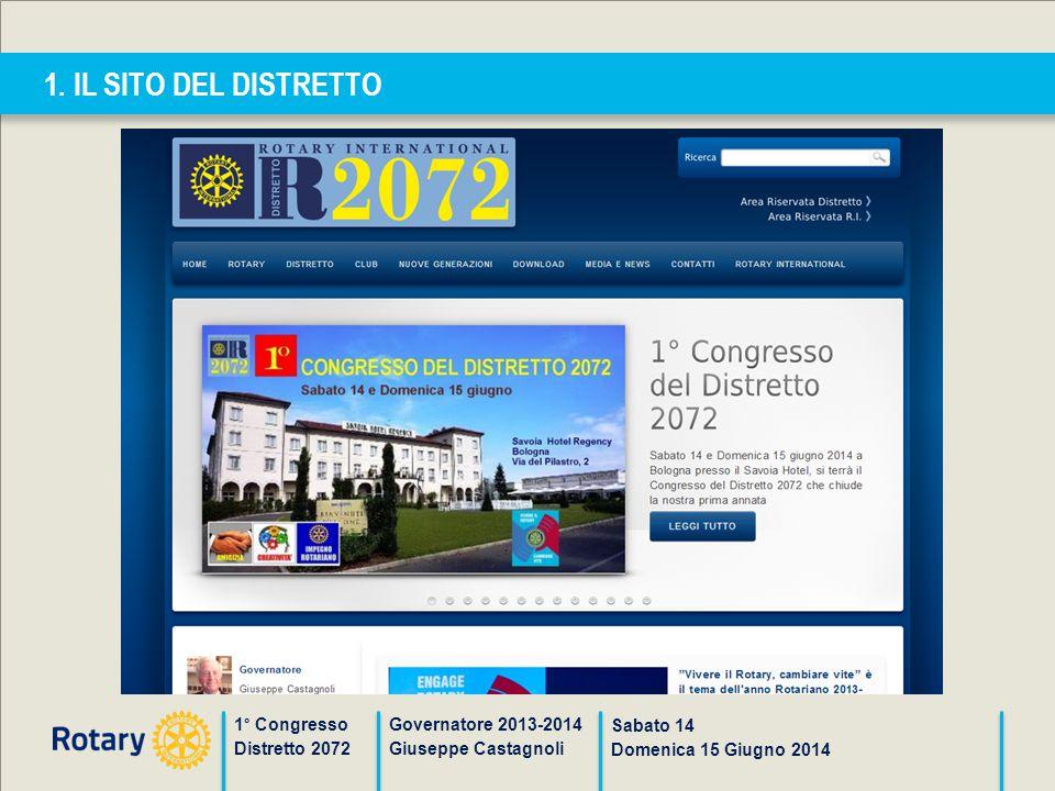 1. IL SITO DEL DISTRETTO 1° Congresso Distretto 2072 Governatore 2013-2014 Giuseppe Castagnoli Sabato 14 Domenica 15 Giugno 2014