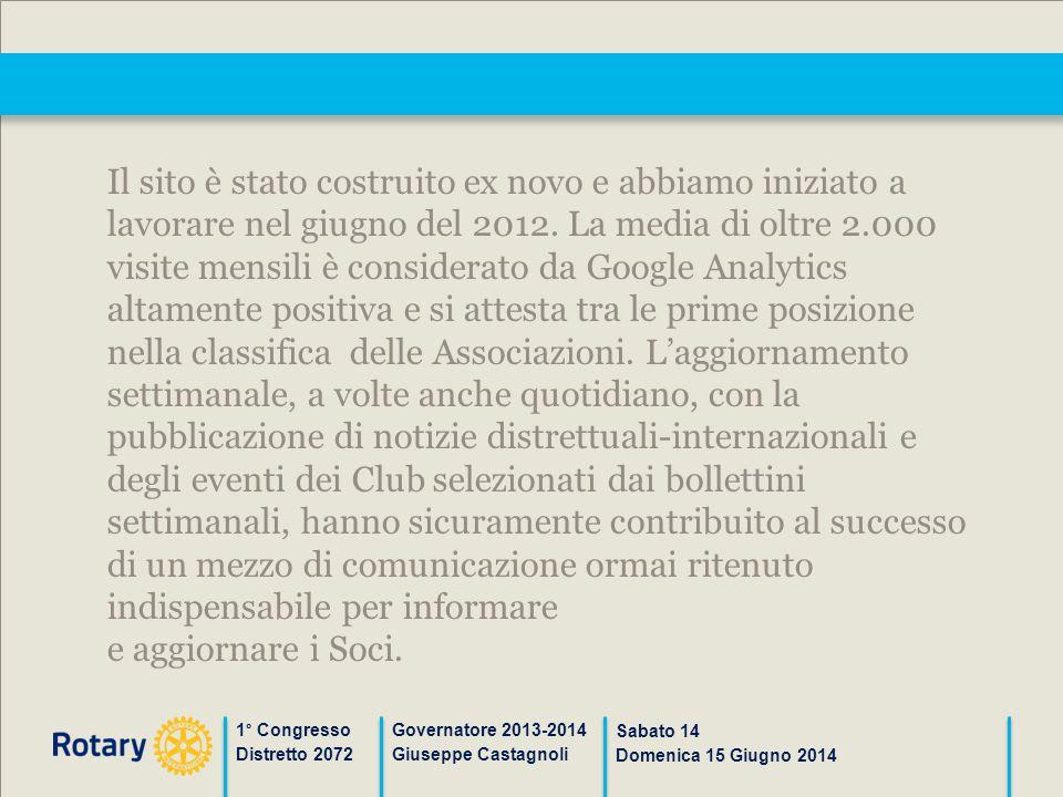 1° Congresso Distretto 2072 Governatore 2013-2014 Giuseppe Castagnoli Sabato 14 Domenica 15 Giugno 2014 Il sito è stato costruito ex novo e abbiamo in
