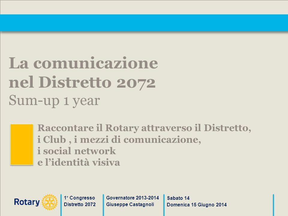 1° Congresso Distretto 2072 Governatore 2013-2014 Giuseppe Castagnoli Sabato 14 Domenica 15 Giugno 2014 La comunicazione nel Distretto 2072 Sum-up 1 y