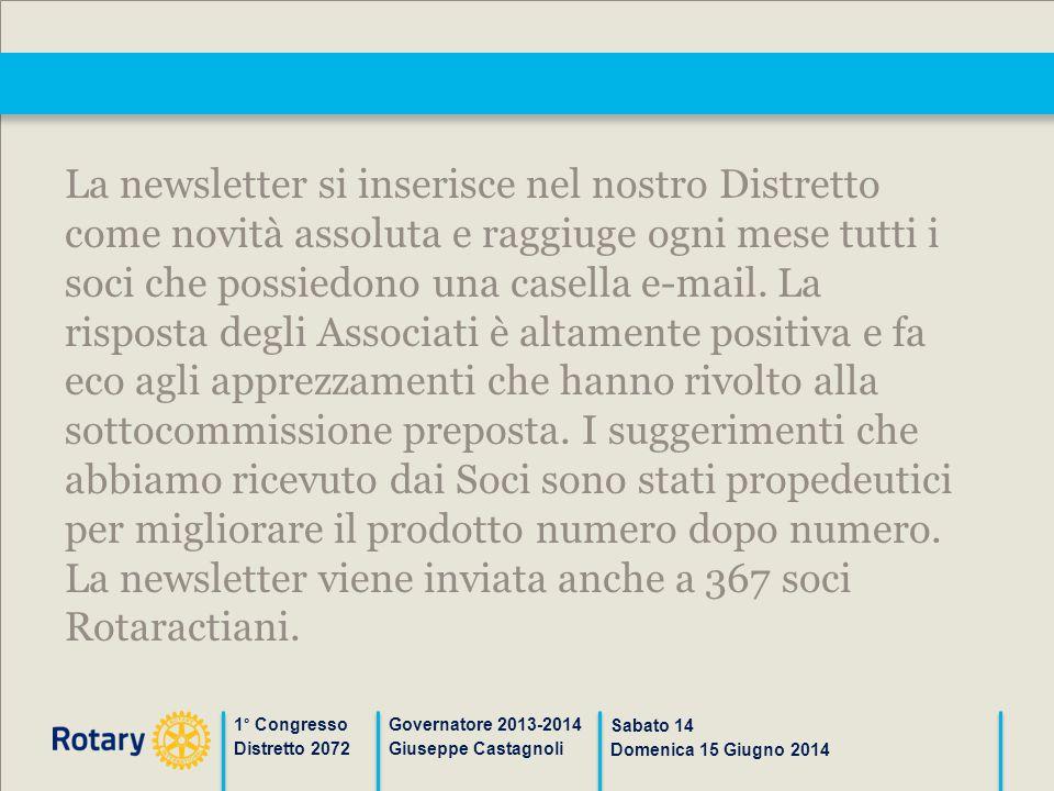 1° Congresso Distretto 2072 Governatore 2013-2014 Giuseppe Castagnoli Sabato 14 Domenica 15 Giugno 2014 La newsletter si inserisce nel nostro Distrett