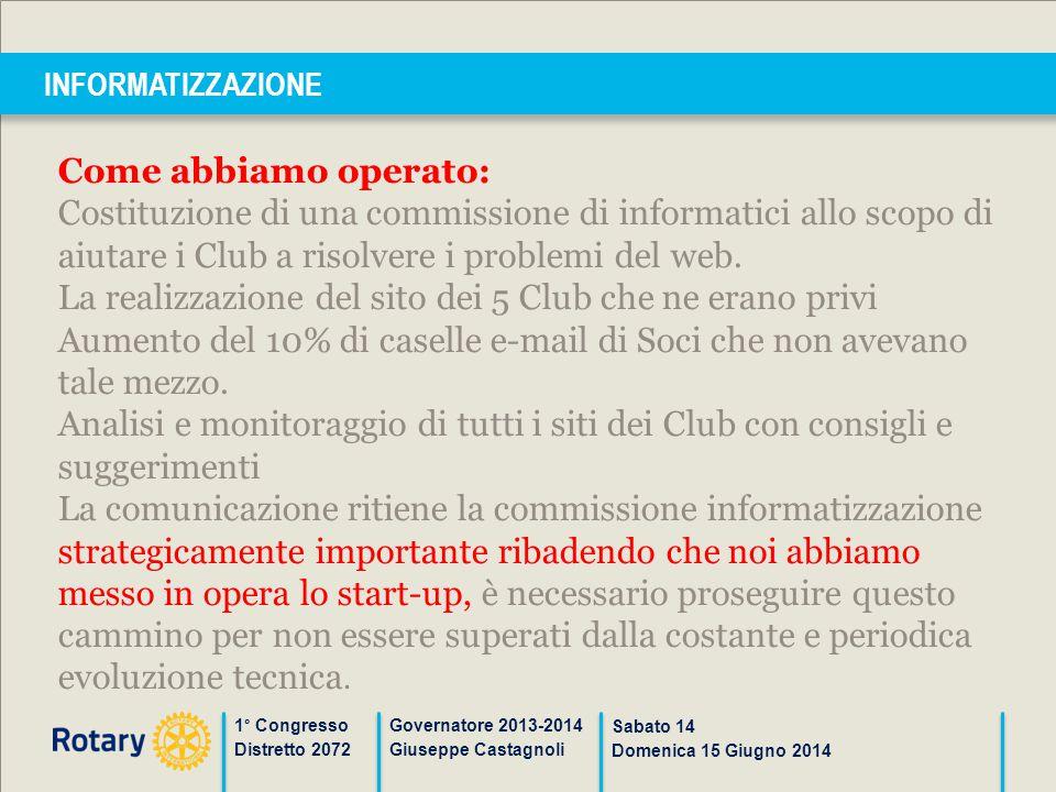 INFORMATIZZAZIONE 1° Congresso Distretto 2072 Governatore 2013-2014 Giuseppe Castagnoli Sabato 14 Domenica 15 Giugno 2014 Come abbiamo operato: Costit