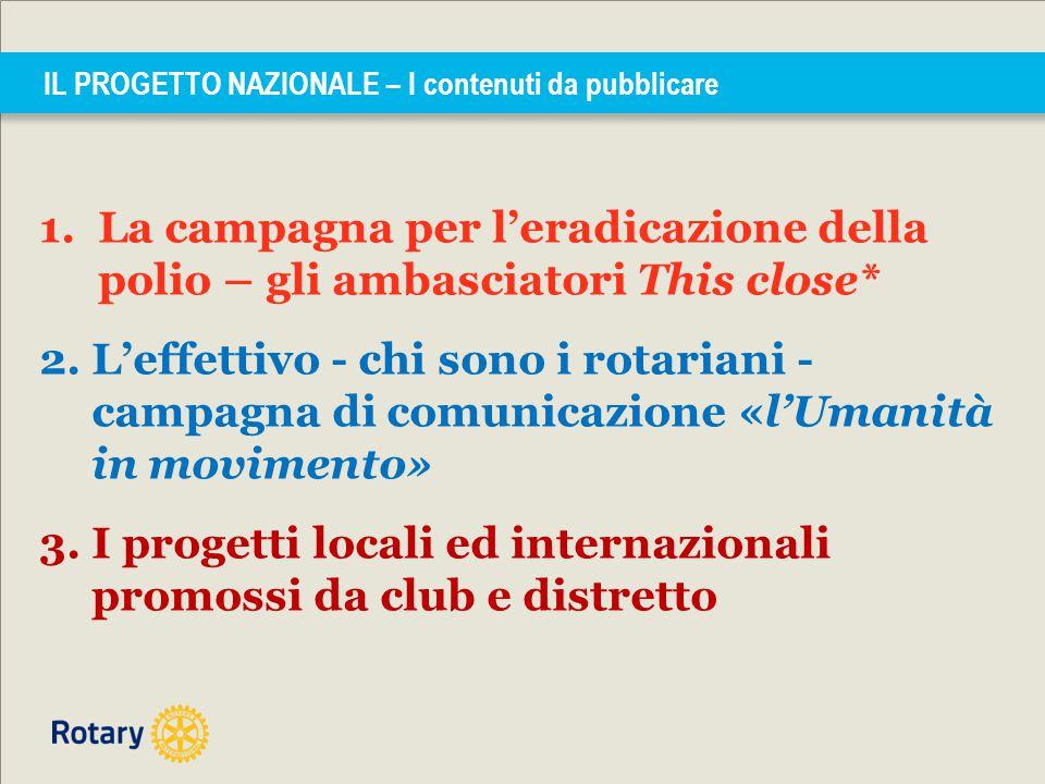 IL PROGETTO NAZIONALE – I contenuti da pubblicare 1.La campagna per l'eradicazione della polio – gli ambasciatori This close* 2. L'effettivo - chi son