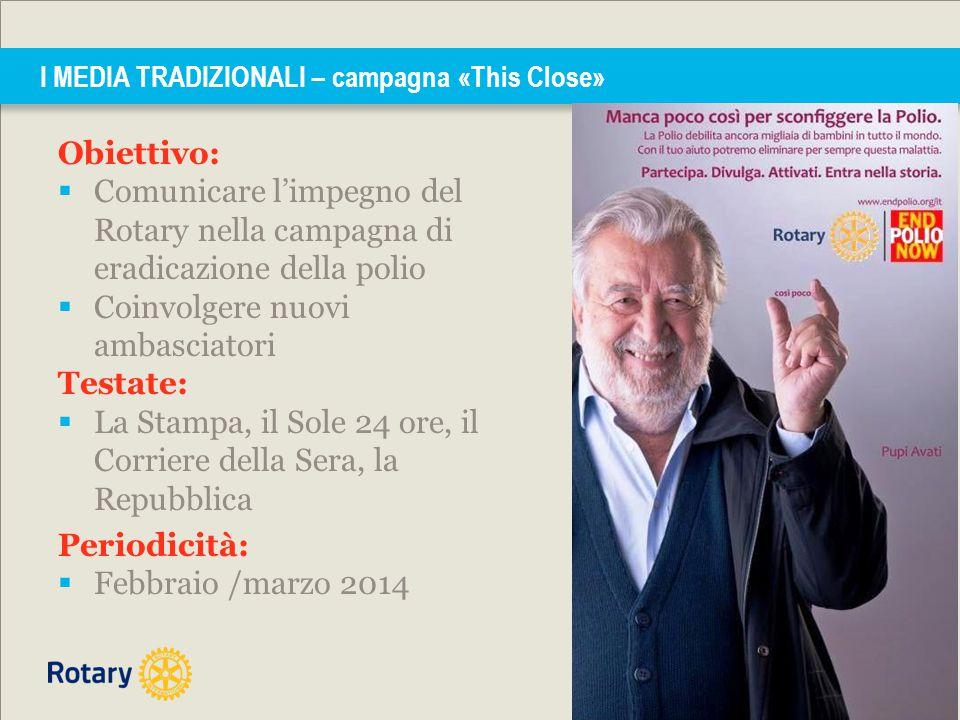 Obiettivo:  Comunicare l'impegno del Rotary nella campagna di eradicazione della polio  Coinvolgere nuovi ambasciatori Testate:  La Stampa, il Sole