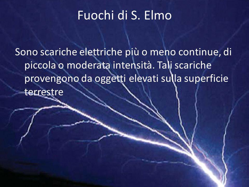 Fuochi di S. Elmo Sono scariche elettriche più o meno continue, di piccola o moderata intensità. Tali scariche provengono da oggetti elevati sulla sup