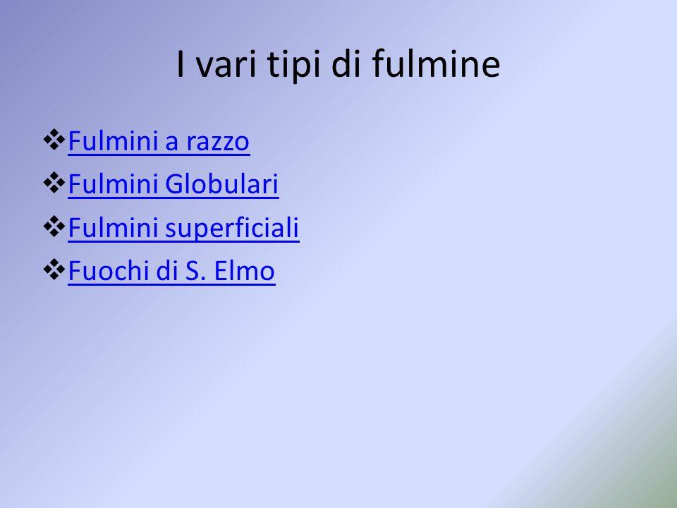 I vari tipi di fulmine  Fulmini a razzo Fulmini a razzo  Fulmini Globulari Fulmini Globulari  Fulmini superficiali Fulmini superficiali  Fuochi di