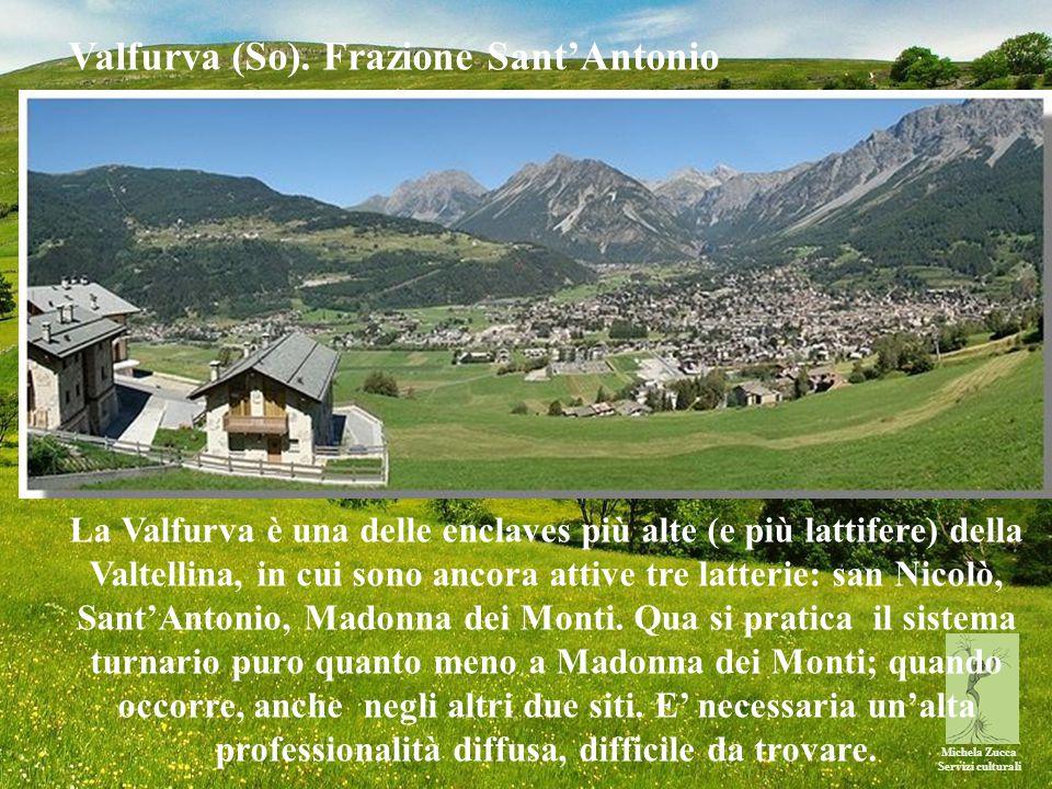 Michela Zucca Servizi culturali La Valfurva è una delle enclaves più alte (e più lattifere) della Valtellina, in cui sono ancora attive tre latterie: san Nicolò, Sant'Antonio, Madonna dei Monti.