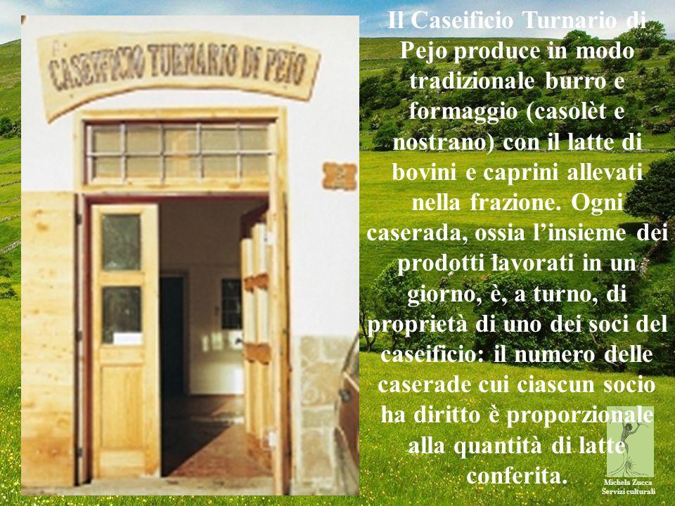 Michela Zucca Servizi culturali Il Caseificio Turnario di Pejo produce in modo tradizionale burro e formaggio (casolèt e nostrano) con il latte di bovini e caprini allevati nella frazione.