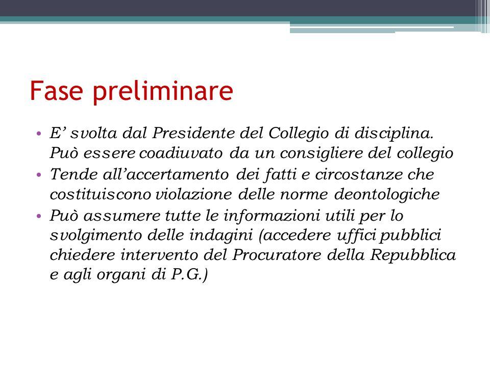 Fase preliminare E' svolta dal Presidente del Collegio di disciplina.