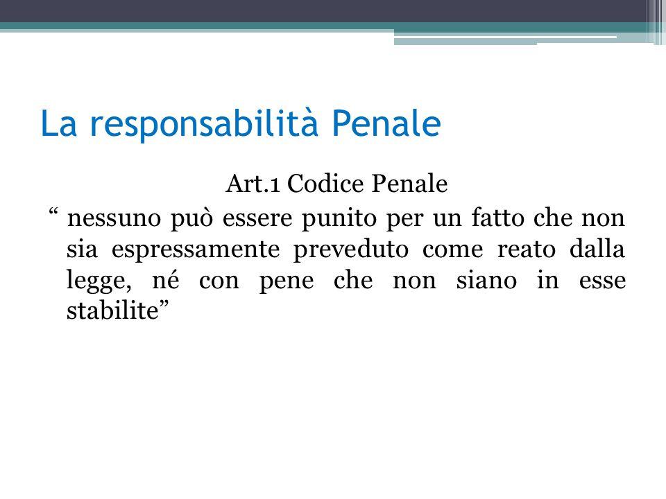 La responsabilità Penale Art.1 Codice Penale nessuno può essere punito per un fatto che non sia espressamente preveduto come reato dalla legge, né con pene che non siano in esse stabilite