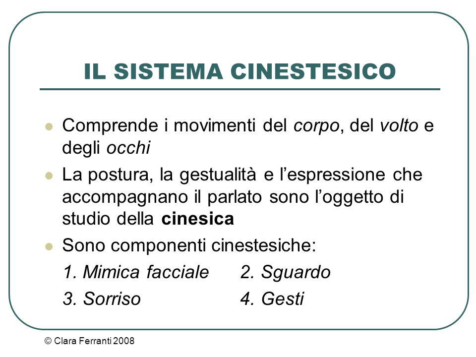 © Clara Ferranti 2008 IL SISTEMA CINESTESICO Comprende i movimenti del corpo, del volto e degli occhi La postura, la gestualità e l'espressione che ac