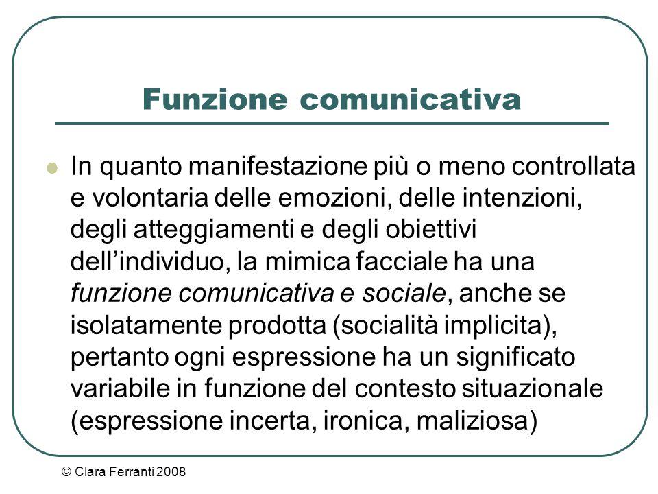 © Clara Ferranti 2008 Funzione comunicativa In quanto manifestazione più o meno controllata e volontaria delle emozioni, delle intenzioni, degli atteg
