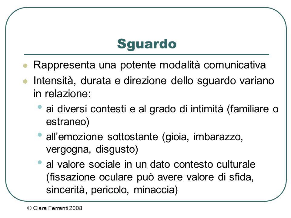 © Clara Ferranti 2008 Sguardo Rappresenta una potente modalità comunicativa Intensità, durata e direzione dello sguardo variano in relazione: ai diver