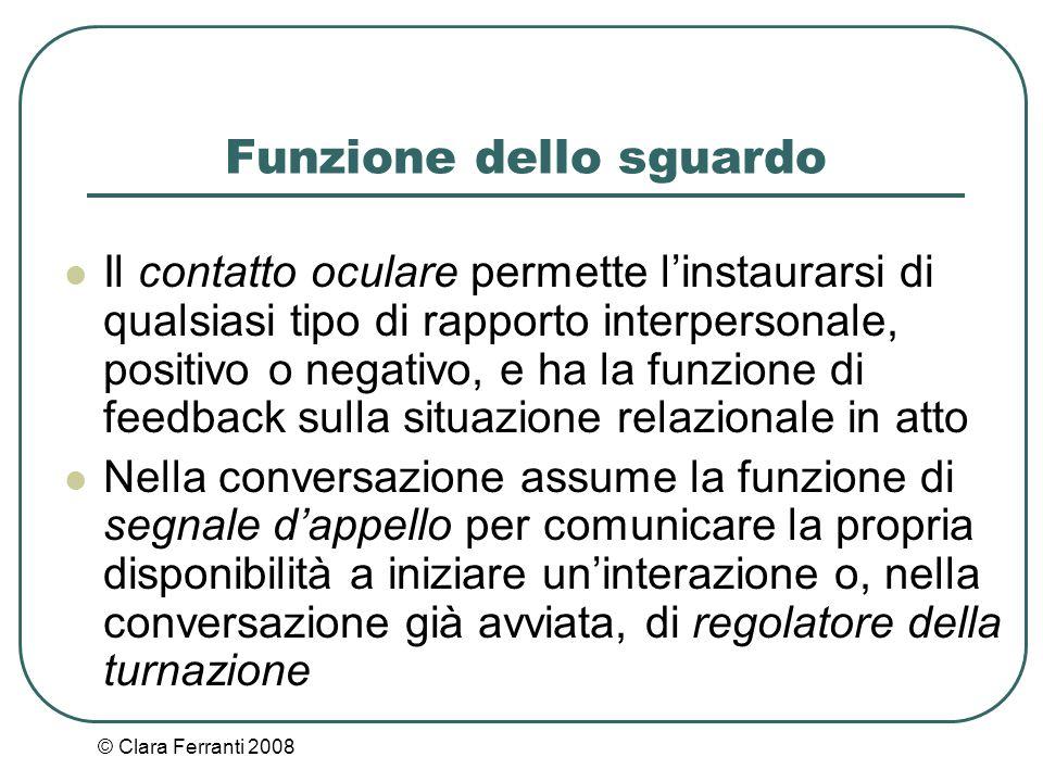 © Clara Ferranti 2008 Funzione dello sguardo Il contatto oculare permette l'instaurarsi di qualsiasi tipo di rapporto interpersonale, positivo o negat