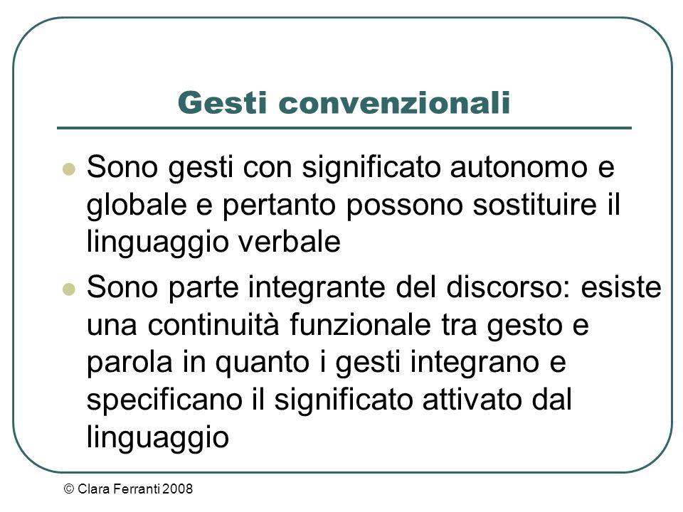 © Clara Ferranti 2008 Gesti convenzionali Sono gesti con significato autonomo e globale e pertanto possono sostituire il linguaggio verbale Sono parte