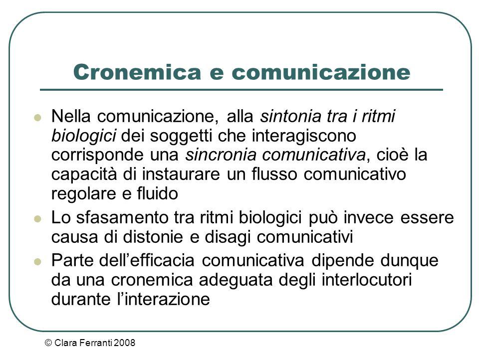 © Clara Ferranti 2008 Cronemica e comunicazione Nella comunicazione, alla sintonia tra i ritmi biologici dei soggetti che interagiscono corrisponde un