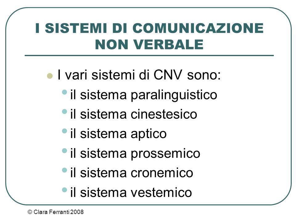 © Clara Ferranti 2008 I SISTEMI DI COMUNICAZIONE NON VERBALE I vari sistemi di CNV sono: il sistema paralinguistico il sistema cinestesico il sistema