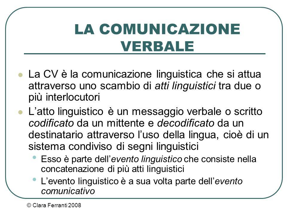 © Clara Ferranti 2008 LA COMUNICAZIONE VERBALE La CV è la comunicazione linguistica che si attua attraverso uno scambio di atti linguistici tra due o