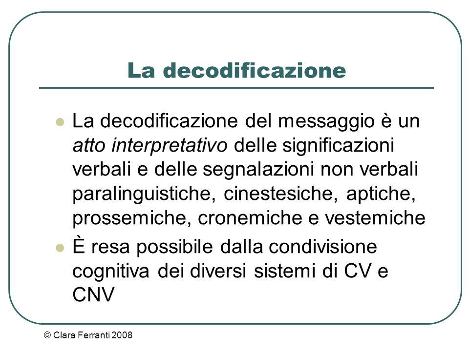 © Clara Ferranti 2008 La decodificazione La decodificazione del messaggio è un atto interpretativo delle significazioni verbali e delle segnalazioni n