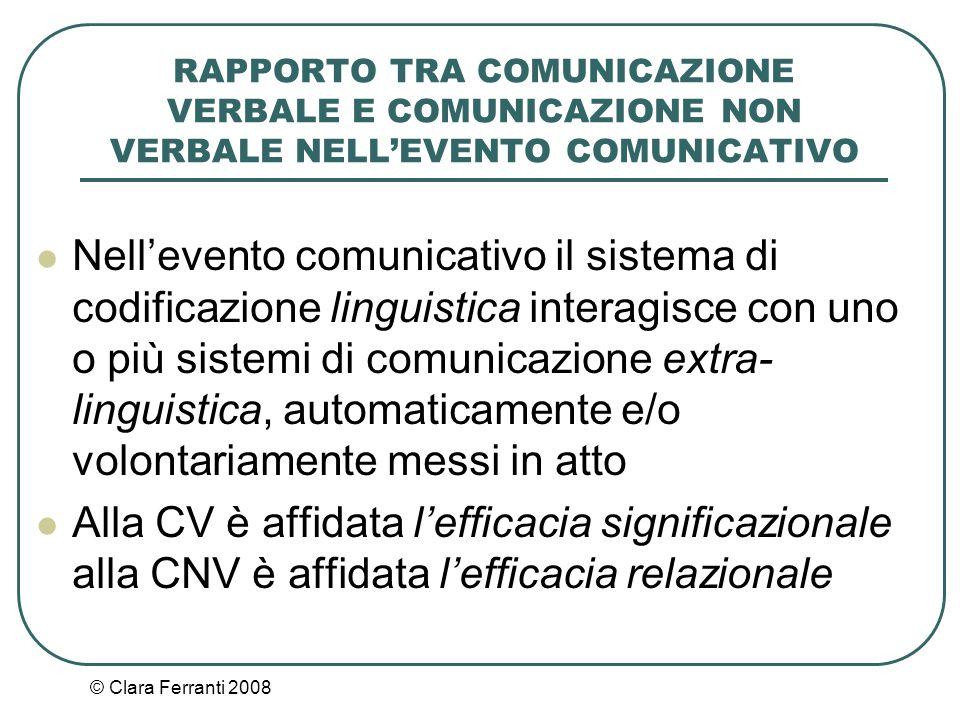 © Clara Ferranti 2008 RAPPORTO TRA COMUNICAZIONE VERBALE E COMUNICAZIONE NON VERBALE NELL'EVENTO COMUNICATIVO Nell'evento comunicativo il sistema di c
