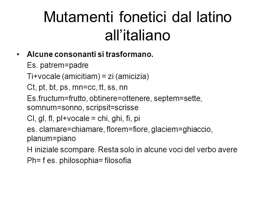 Mutamenti fonetici dal latino all'italiano Alcune consonanti si trasformano. Es. patrem=padre Ti+vocale (amicitiam) = zi (amicizia) Ct, pt, bt, ps, mn