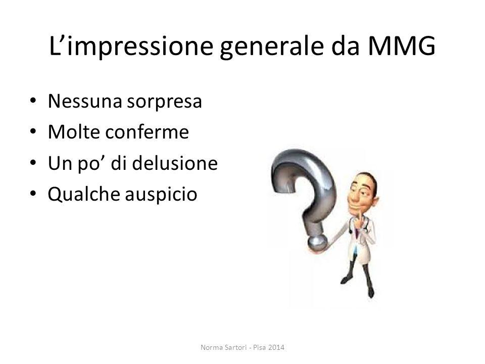L'impressione generale da MMG Nessuna sorpresa Molte conferme Un po' di delusione Qualche auspicio Norma Sartori - Pisa 2014
