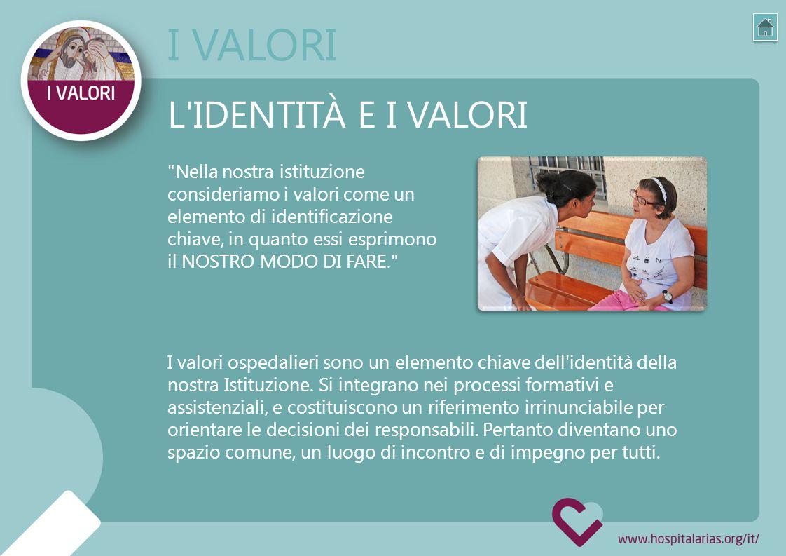 Nella nostra istituzione consideriamo i valori come un elemento di identificazione chiave, in quanto essi esprimono il NOSTRO MODO DI FARE. L IDENTITÀ E I VALORI I valori ospedalieri sono un elemento chiave dell identità della nostra Istituzione.
