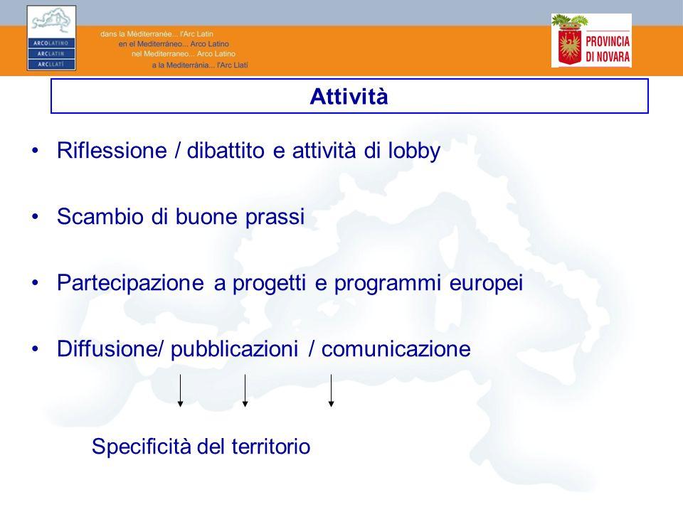 Riflessione / dibattito e attività di lobby Scambio di buone prassi Partecipazione a progetti e programmi europei Diffusione/ pubblicazioni / comunica