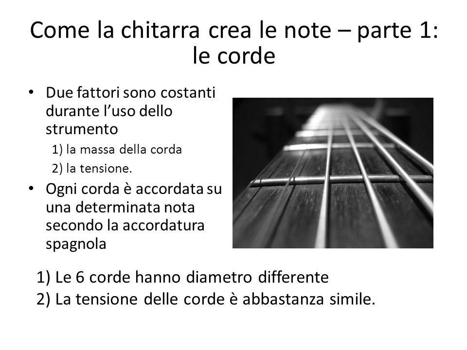 Come la chitarra crea le note – parte 1: le corde Due fattori sono costanti durante l'uso dello strumento 1) la massa della corda 2) la tensione. Ogni