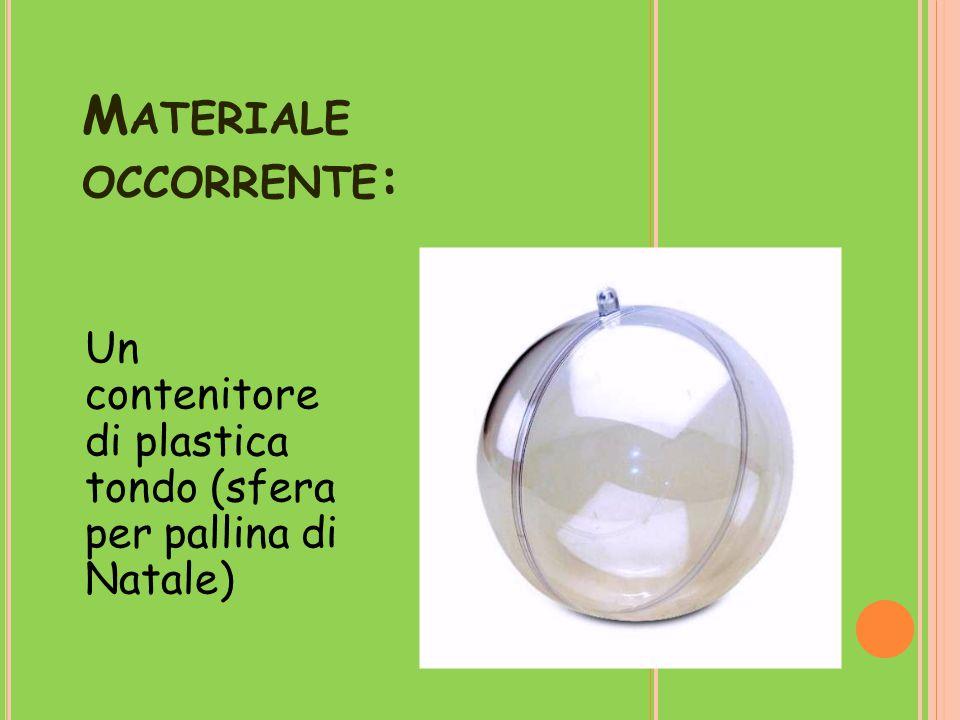 M ATERIALE OCCORRENTE : Un contenitore di plastica tondo (sfera per pallina di Natale)