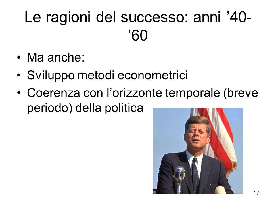 17 Le ragioni del successo: anni '40- '60 Ma anche: Sviluppo metodi econometrici Coerenza con l'orizzonte temporale (breve periodo) della politica
