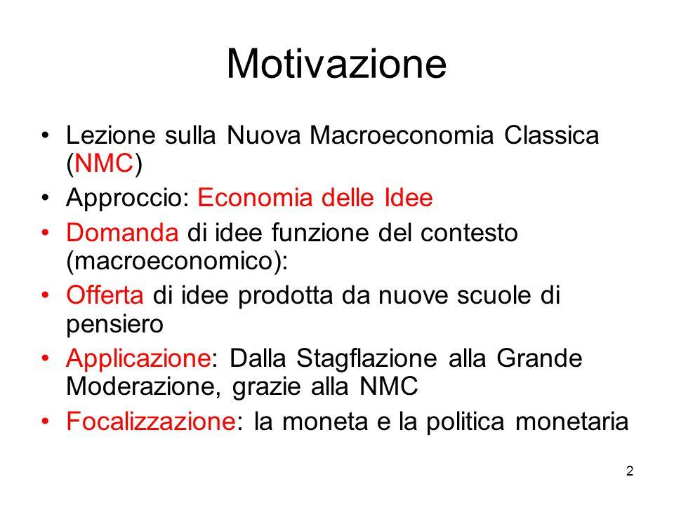 2 Motivazione Lezione sulla Nuova Macroeconomia Classica (NMC) Approccio: Economia delle Idee Domanda di idee funzione del contesto (macroeconomico):