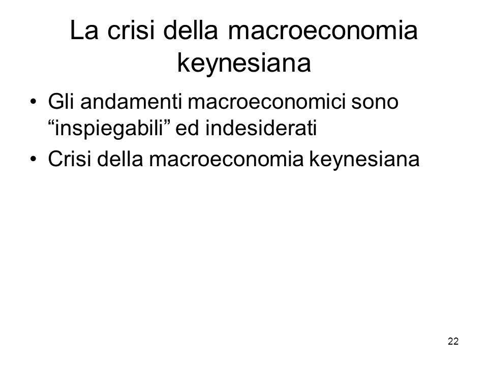 """22 La crisi della macroeconomia keynesiana Gli andamenti macroeconomici sono """"inspiegabili"""" ed indesiderati Crisi della macroeconomia keynesiana"""