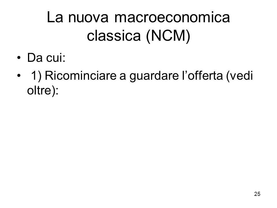 25 La nuova macroeconomica classica (NCM) Da cui: 1) Ricominciare a guardare l'offerta (vedi oltre):