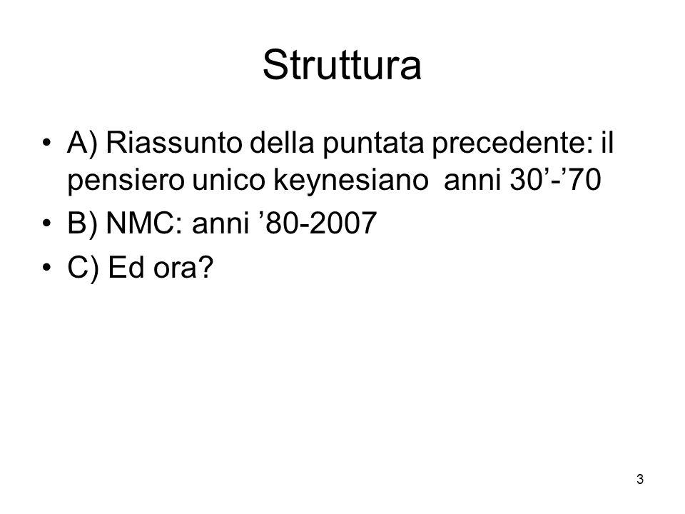 3 A) Riassunto della puntata precedente: il pensiero unico keynesiano anni 30'-'70 B) NMC: anni '80-2007 C) Ed ora? Struttura