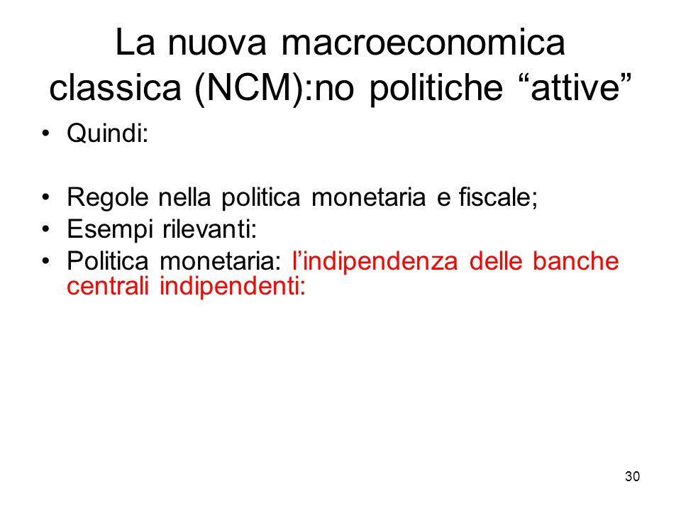 """30 La nuova macroeconomica classica (NCM):no politiche """"attive"""" Quindi: Regole nella politica monetaria e fiscale; Esempi rilevanti: Politica monetari"""