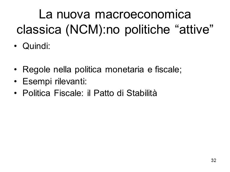 """32 La nuova macroeconomica classica (NCM):no politiche """"attive"""" Quindi: Regole nella politica monetaria e fiscale; Esempi rilevanti: Politica Fiscale:"""