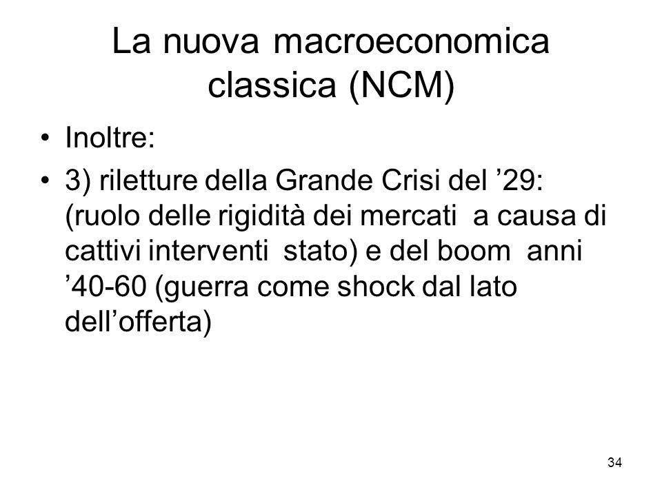 34 La nuova macroeconomica classica (NCM) Inoltre: 3) riletture della Grande Crisi del '29: (ruolo delle rigidità dei mercati a causa di cattivi inter