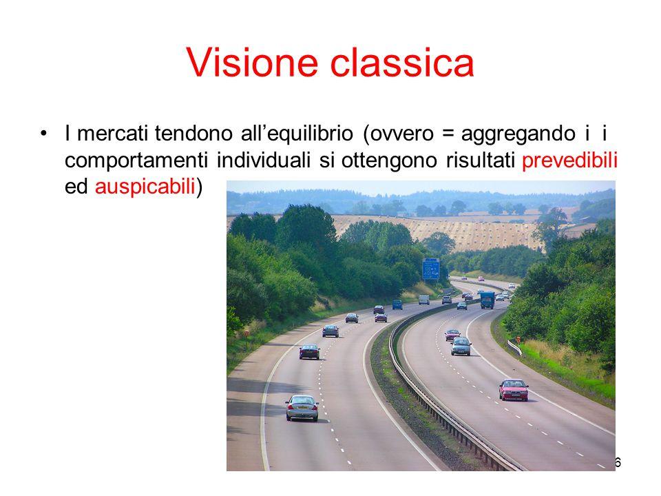 6 Visione classica I mercati tendono all'equilibrio (ovvero = aggregando i i comportamenti individuali si ottengono risultati prevedibili ed auspicabi