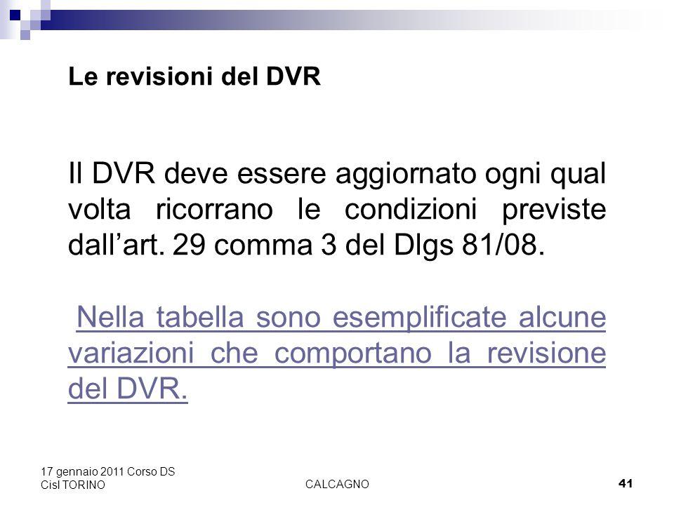 CALCAGNO41 17 gennaio 2011 Corso DS Cisl TORINO Le revisioni del DVR Il DVR deve essere aggiornato ogni qual volta ricorrano le condizioni previste dall'art.